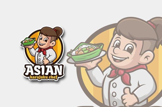 Chef-logo met aziatische harajuku-kapsel Premium Vector
