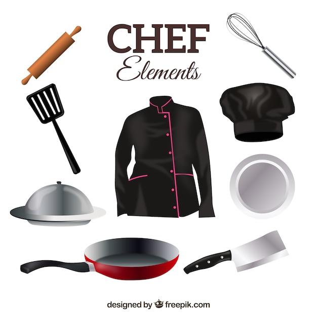 Chef-uniform met kookgerei Gratis Vector