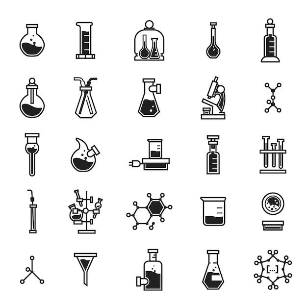 Chemie icon set, eenvoudige stijl Premium Vector