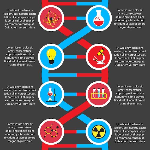 Chemie of biologie platte infographics sjabloon Gratis Vector