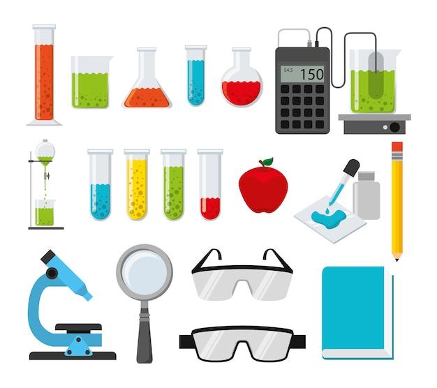 Chemie pictogrammenset Gratis Vector