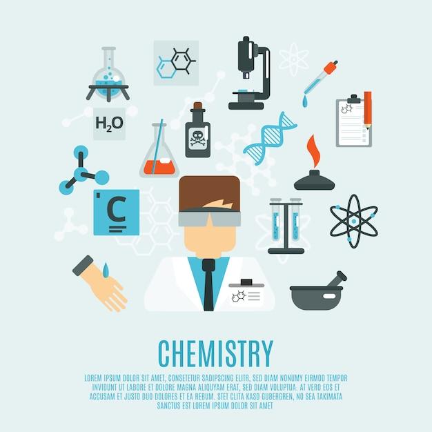 Chemie platte pictogrammenset Premium Vector
