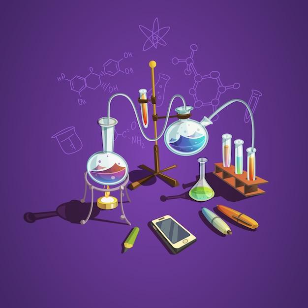 Chemie wetenschap concept Gratis Vector