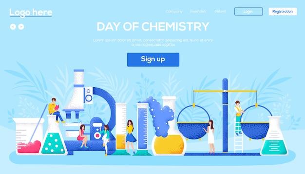 Chemisch laboratorium concept flyer, webbanner, ui-header, site invoeren. mensen karakter met items rond laboratorium. korrelstructuur en ruiseffect. Premium Vector