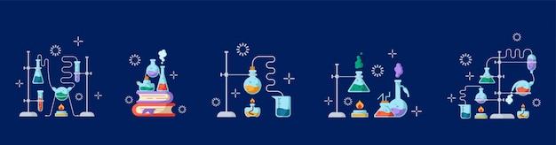 Chemisch laboratorium en apparatuur voor het experiment. wetenschap en onderwijs concept. glazen kolven en reageerbuizen Premium Vector