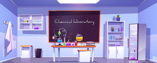 Chemisch laboratorium, lege chemiekast, kamer Gratis Vector