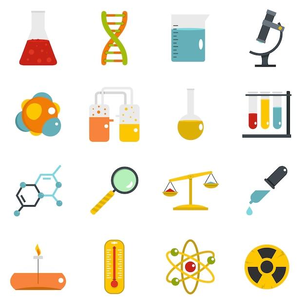 Chemisch laboratorium pictogrammen instellen in vlakke stijl Premium Vector