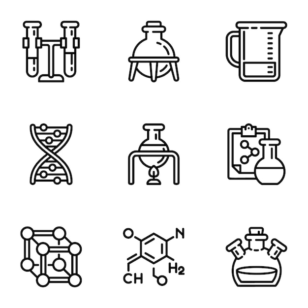 Chemisch laboratorium pictogramserie. overzichtsreeks van 9 chemische laboratoriumpictogrammen Premium Vector