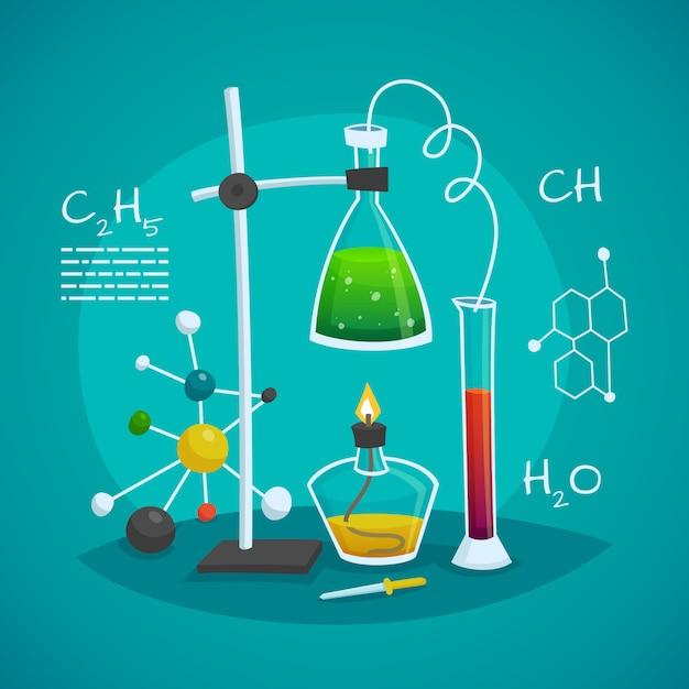 Chemisch laboratorium werkruimte ontwerpconcept Gratis Vector