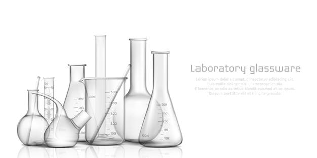Chemische, biologische wetenschap laboratoriumglaswerkcollectie Gratis Vector