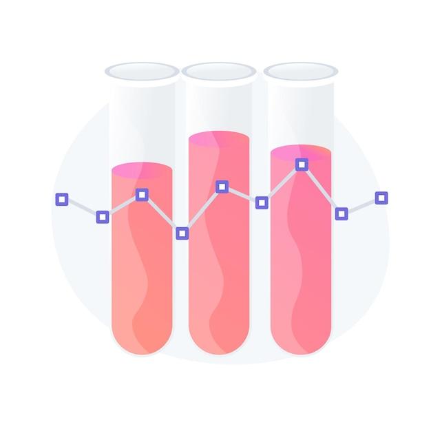 Chemische bloedanalyse. klinisch experiment, ziektedetectie, plasmadiagnostiek. hematologie kliniek, medische expertise idee ontwerpelement. vector geïsoleerde concept metafoor illustratie Gratis Vector
