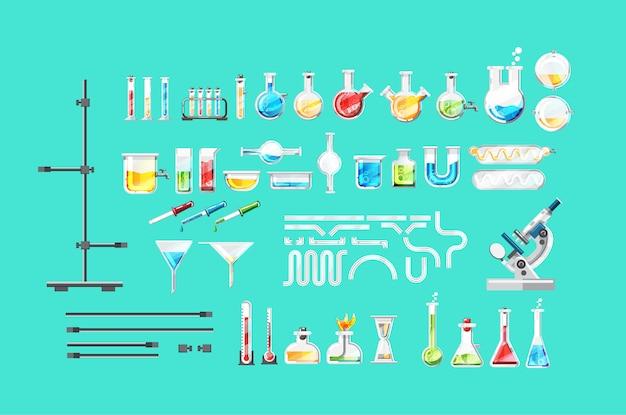 Chemische laboratoriumapparatuur geïsoleerde set Premium Vector