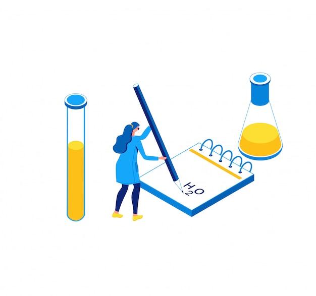 Chemisrty isometrische illustratie, laboratorium Premium Vector