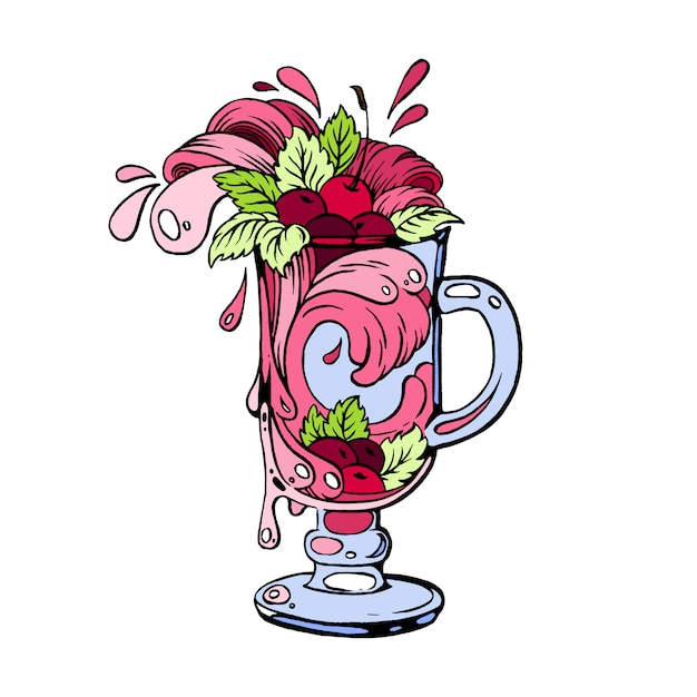 Cherry cocktail hand getekende illustratie. Premium Vector