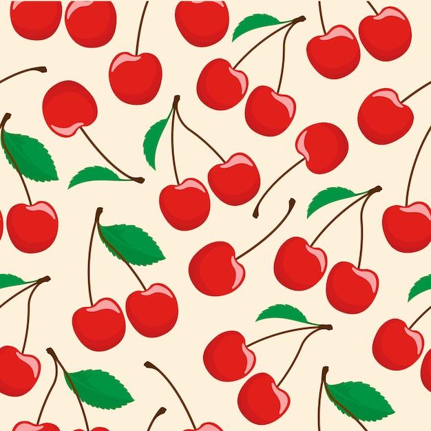 Cherry fruit naadloze patroon Premium Vector