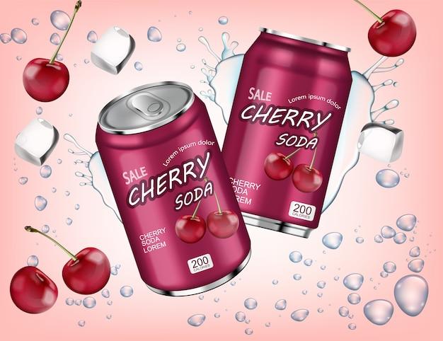 Cherry soda met ijsblokjes splash Premium Vector