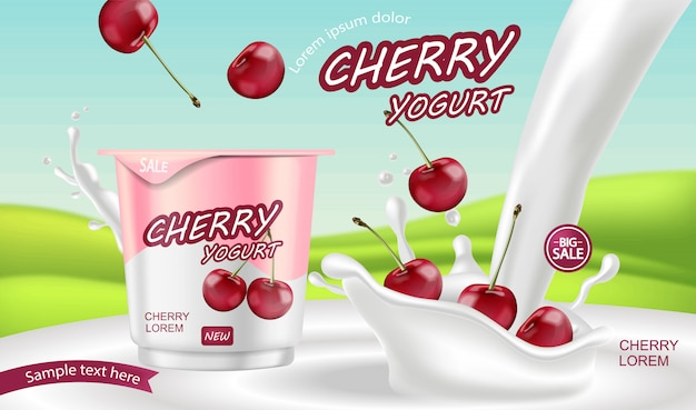 Cherry yoghurt sjabloon Premium Vector