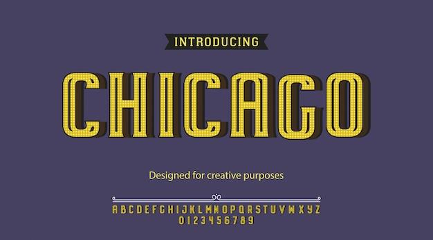 Chicago lettertype lettertype typografie alfabet met letters en cijfers Premium Vector