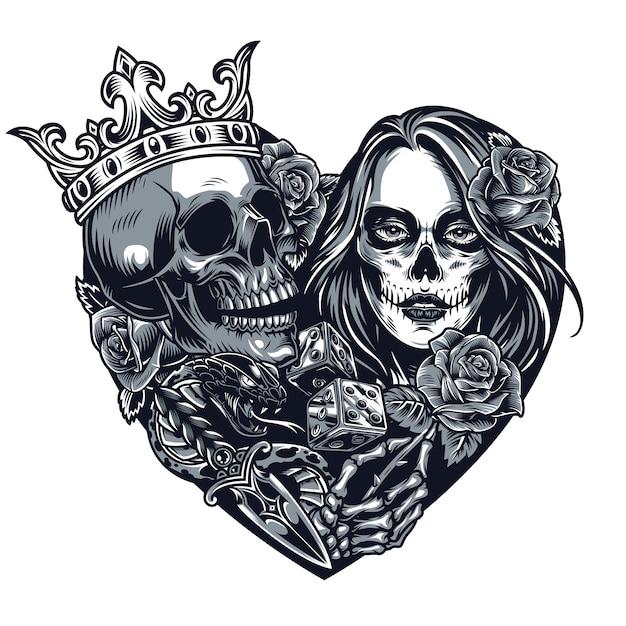 Chicano stijl tattoo sjabloon Gratis Vector
