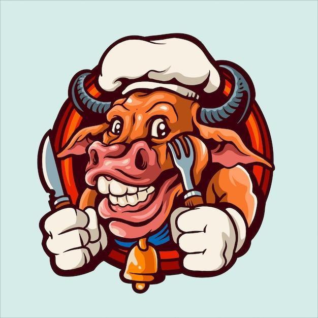 Chief koe mascotte logo illustratie Premium Vector