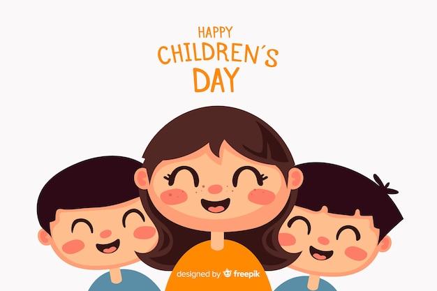 Children's dag achtergrond in plat ontwerp Gratis Vector