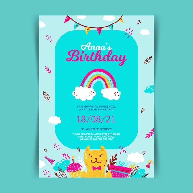 Children's verjaardag kaart uitnodiging sjabloon Gratis Vector