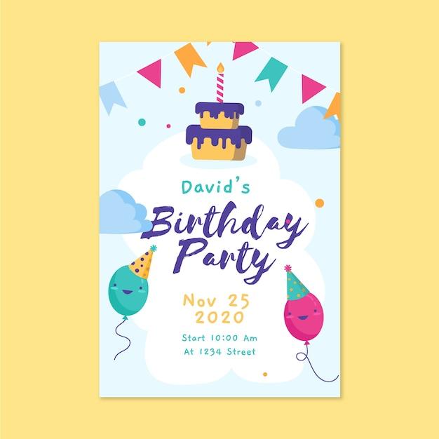 Children's verjaardag kaartsjabloon met cake en ballonnen Gratis Vector