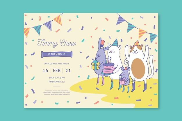Children's verjaardag kaartsjabloon met illustraties Premium Vector