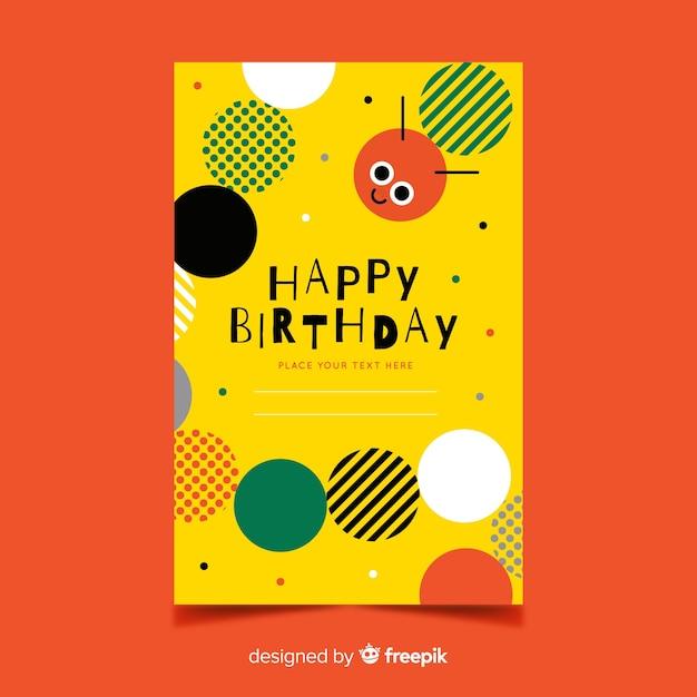 Children's verjaardag kleurrijke uitnodiging sjabloon Gratis Vector