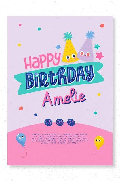 Children's verjaardag partij kaartsjabloon Gratis Vector