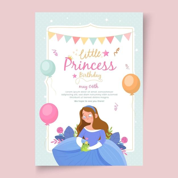 Children's verjaardag poster sjabloon Gratis Vector