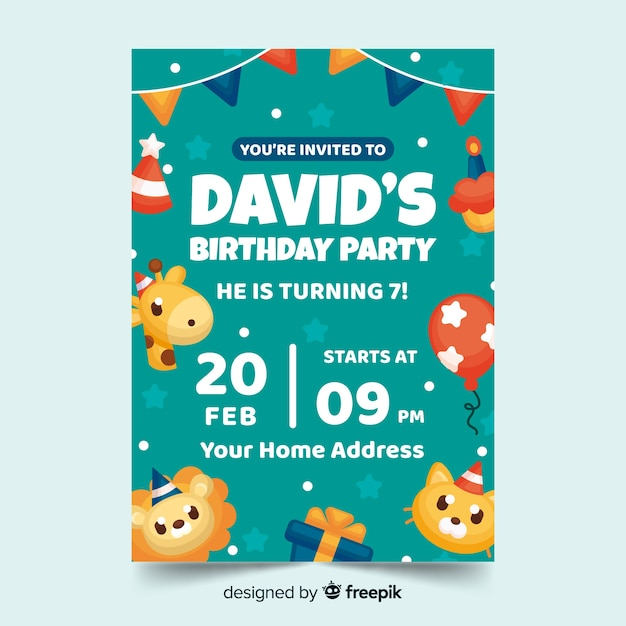 Children's verjaardag uitnodiging sjabloon met datum en tijd Gratis Vector