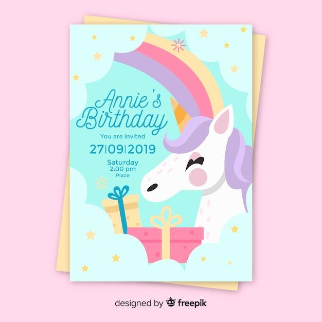 Children's verjaardag uitnodiging sjabloon met eenhoorn Gratis Vector