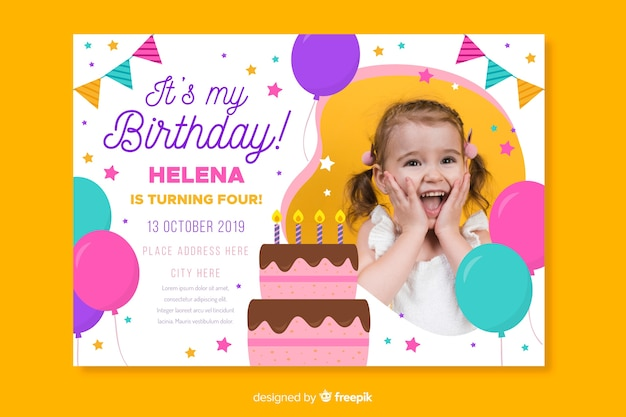 Children's verjaardag uitnodiging sjabloon met foto Gratis Vector