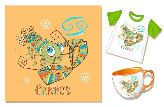 Children's zodiac. kanker teken Premium Vector