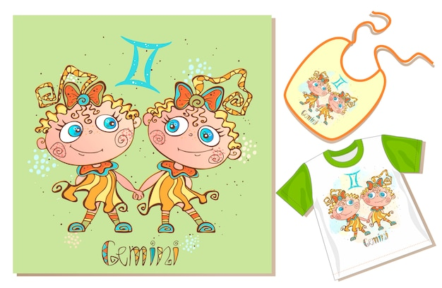 Children's zodiac. tweelingen teken Premium Vector