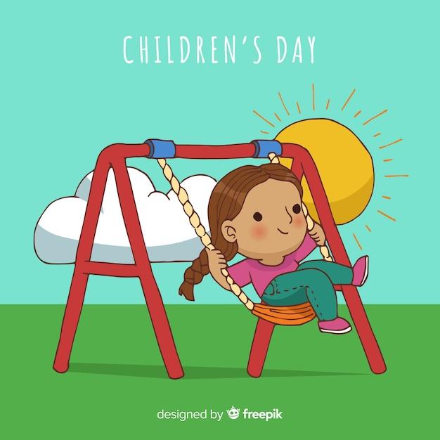 Childrens dag cartoon schommel achtergrond Gratis Vector
