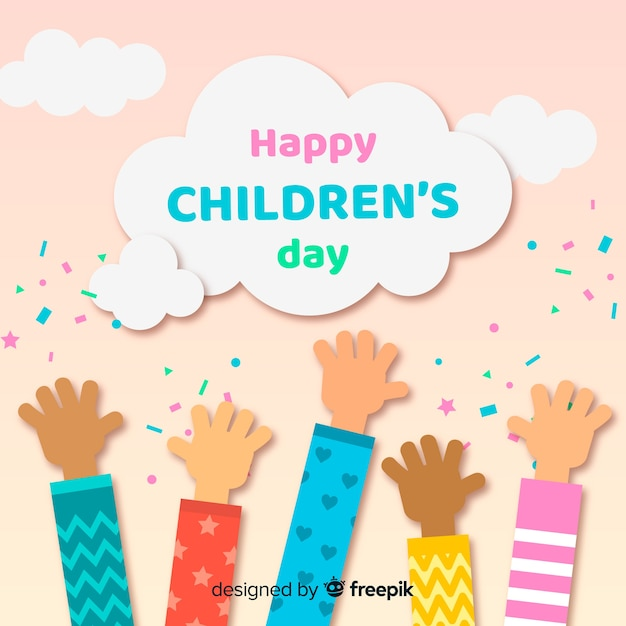 Childrens day flat hands collection Gratis Vector