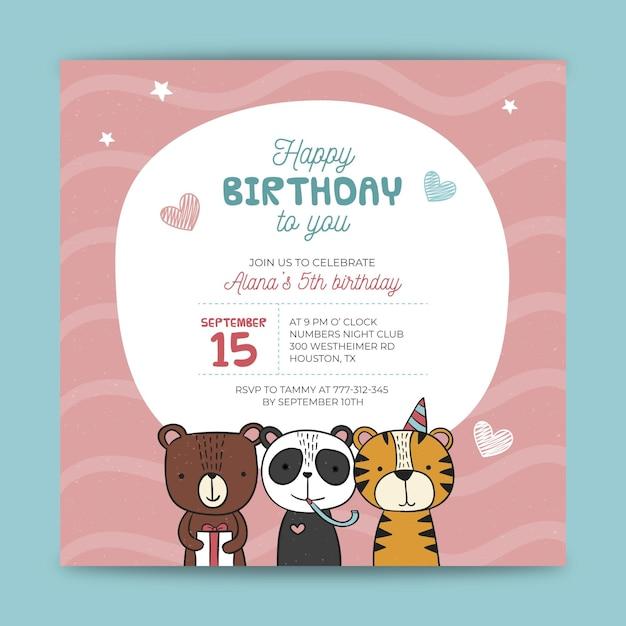 Childrens verjaardag flyer-sjabloon Gratis Vector