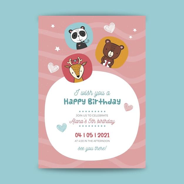Childrens verjaardag poster sjabloon Gratis Vector