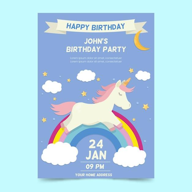 Childrens verjaardag uitnodiging sjabloon Gratis Vector