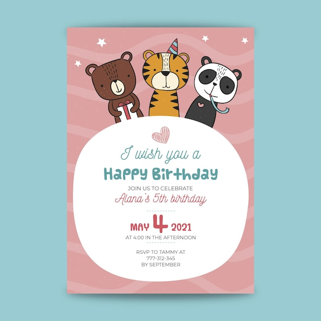 Childrens verjaardagskaart Premium Vector