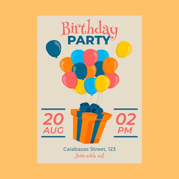 Childrens verjaardagsuitnodiging concept Gratis Vector