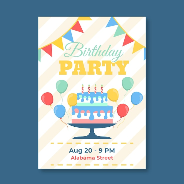 Childrens verjaardagsuitnodiging ontwerp Gratis Vector