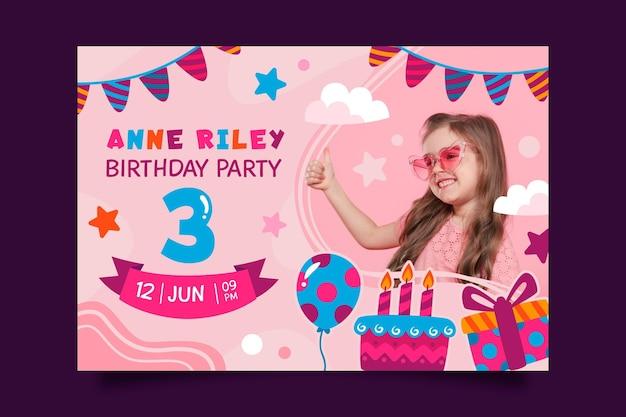 Childrens verjaardagsuitnodiging Gratis Vector
