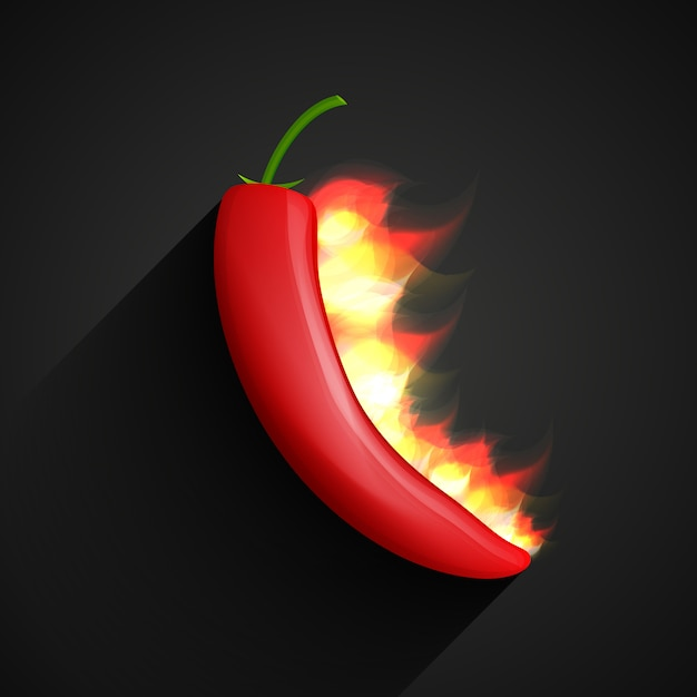 Chili peper in vuur Premium Vector