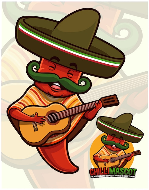 Chili peper mascotte mexicaanse outfit dragen Premium Vector