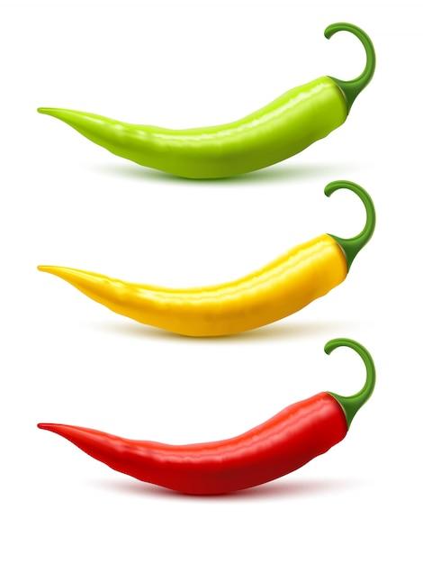 Chili pepper pods instellen realistische schaduw Gratis Vector