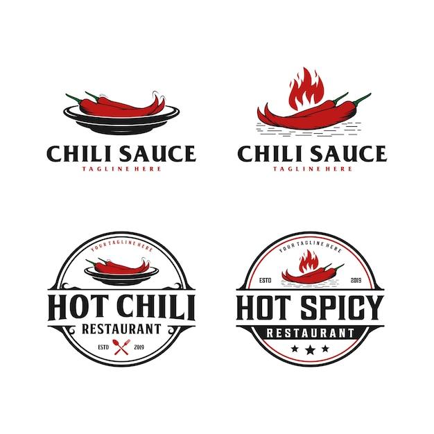 Chili, pittig, saus badge vintage logo. pittig eten restaurant logo Premium Vector