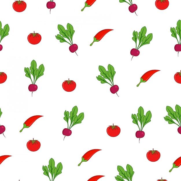 Chili rode biet tomaat zomer markt naadloze patroon Premium Vector